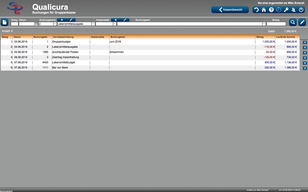 Screenshot Gruppenkasse