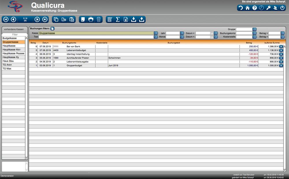 Screenshot Kassenverwaltung