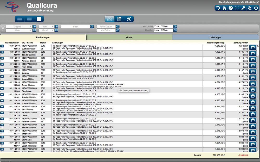 Leistungsabrechnung Screenshot der Jugendhilfe Software - Qualicura
